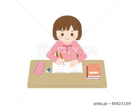 勉強をする女の子のイラスト 66823109