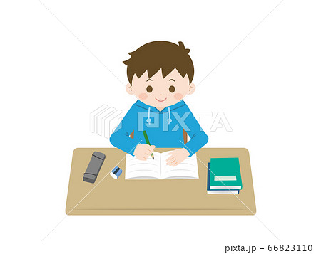 勉強をする男の子のイラスト 66823110