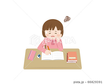 憂鬱に勉強をする女の子のイラスト 66829391