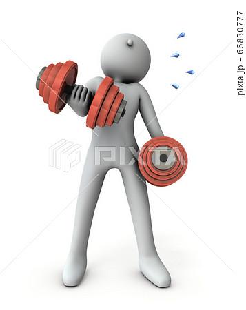 重たいダンベルで体を鍛えるキャラクター。3Dイラスト。 66830777