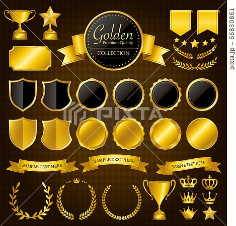 金色のメダル、バッジ、リボン、王冠、トロフィーのセット 66830861