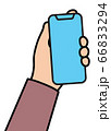 Hand with cellular phone Linear 66833294