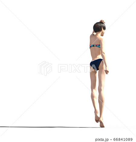 水着の若い女性 perming 3DCGイラスト素材 66841089