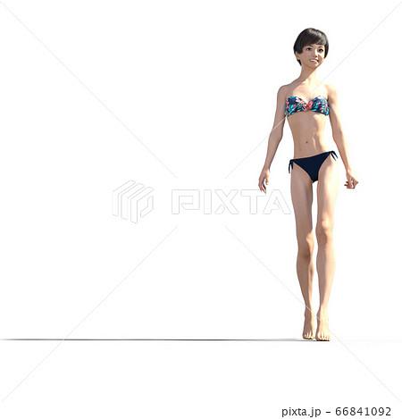 水着の若い女性 perming 3DCGイラスト素材 66841092