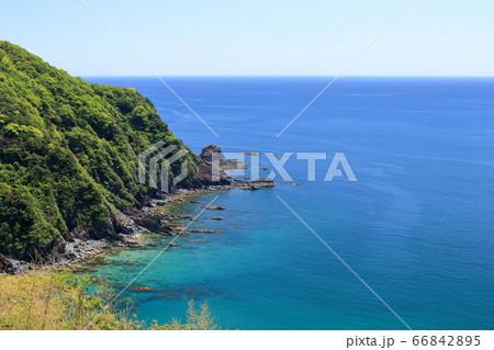 横浪半島と穏やかな太平洋(高知県 横浪黒潮ラインより) 66842895
