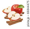 Red apples and cinnamon sticks isolated on white background 66844475