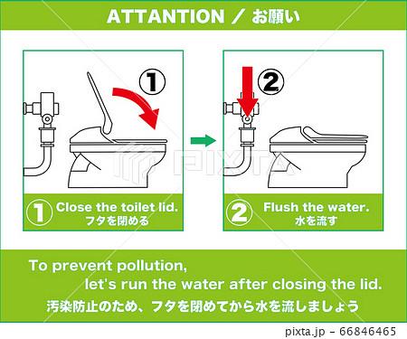 【設備】トイレ利用後、フタを閉じて水を流しましょう 66846465
