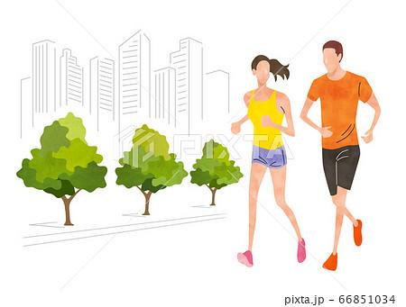 イラスト素材:街をランニングする男女 66851034