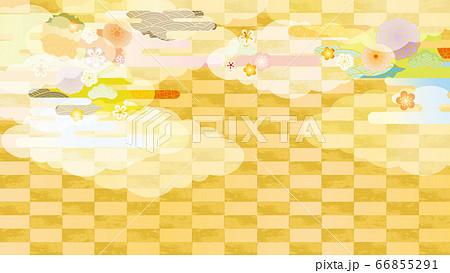 美しい和風柄の背景イラスト 66855291