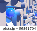 White industrial or technology abstraction with shiny blue balls and connection pipes. 3D illustration 66861704