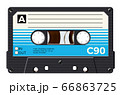 Cassette with retro label as vintage object for 80s revival mix tape design 66863725