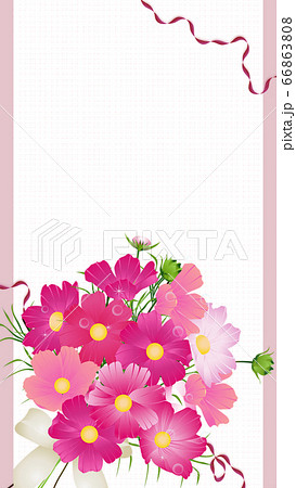 コスモスの花束のイラストワイドバーチャル背景素材縦型 66863808