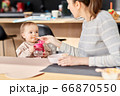 happy mother feeding baby with puree at home 66870550