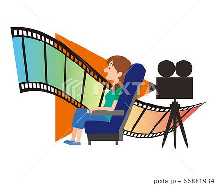 映画 シネマ 女性 映写機 フィルム イメージ 66881934