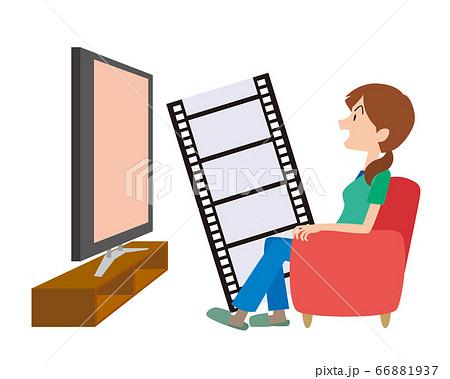リビング テレビ 映画 映画鑑賞 ビデオ 女性 イメージ 66881937
