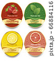 banners with fresh juice drops background, with strawberry, mint, lemon, grapefruit	 66884116