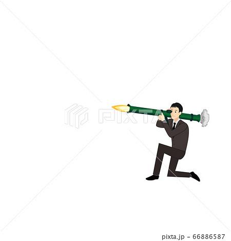 バズーカー砲を放つサラリーマン(人のみ) 66886587