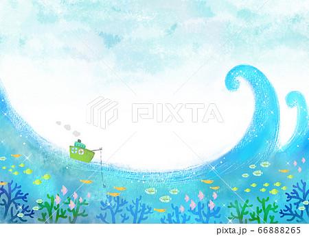 爽やかな夏空と海上の釣り船 66888265