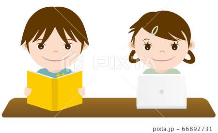 勉強する男の子と女の子 イラスト 66892731
