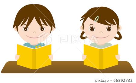 勉強する男の子と女の子 イラスト 66892732