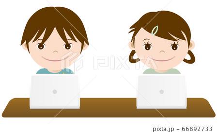 勉強する男の子と女の子 イラスト 66892733