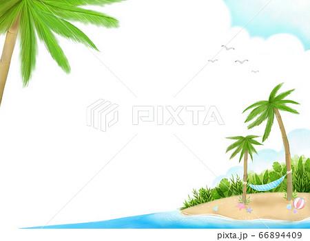 爽やかな夏の空と海、ヤシの木とハンモックが描かれたパステルカラーのイラスト 66894409