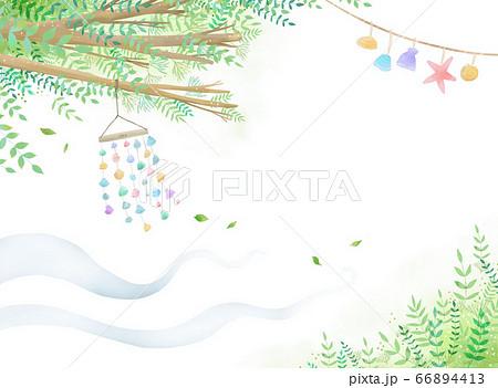 ヒトデ、貝などがロープに繋がれて風になびくイラスト  66894413