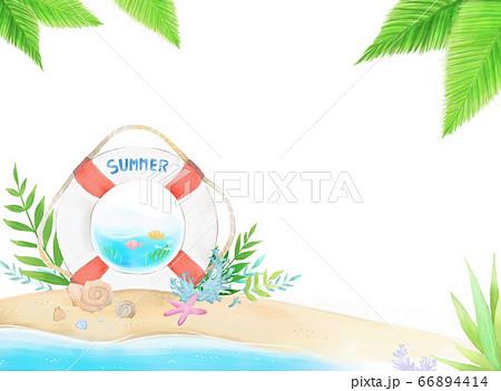 爽やかな夏のビーチにウキワとヒトデ、貝などが描かれたイラスト 66894414