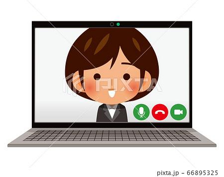パソコンでWEB面接・ビデオ通話イメージ 66895325