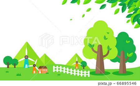 草原と風車と家屋の景色 66895546