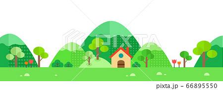 草原と山と家屋の景色  66895550