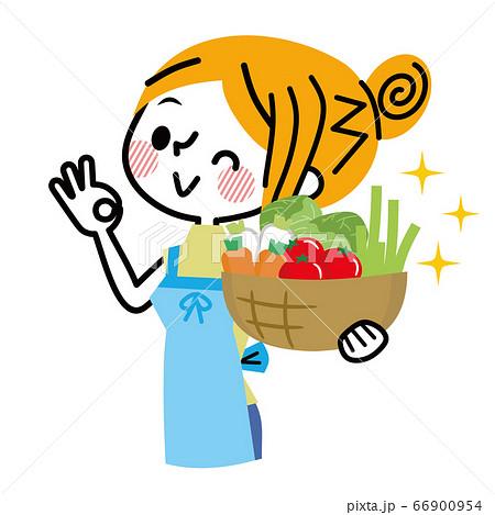 野菜を持っている主婦 66900954