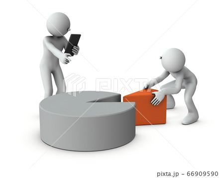 マーケットの分析するキャラクター。3Dレンダリング。 66909590