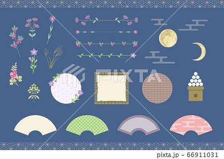 秋の夜のフレーム・罫線・イラストセット(秋の七草・月見) 66911031