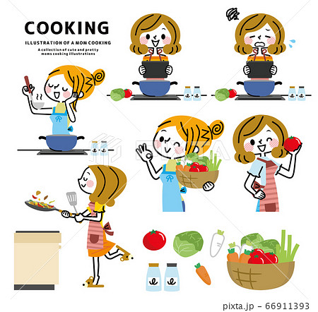 料理をする女性のセット 66911393