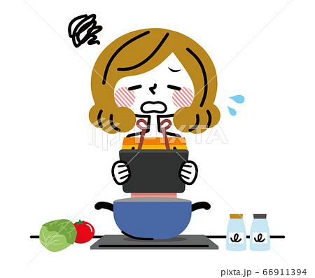タブレットを見て料理する女性 失敗 66911394