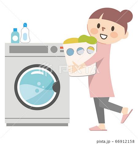 洗濯をする若い女性のイラストレーション 66912158