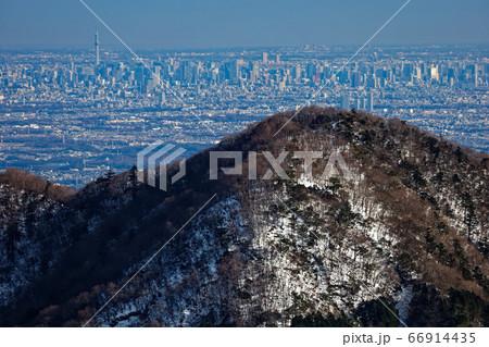 丹沢表尾根・三ノ塔から見る東京スカイツリーと都心のビル群 66914435