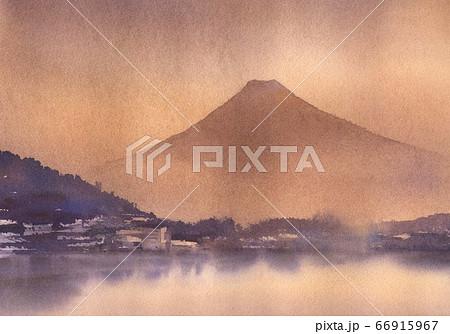 水彩画 富士山 66915967