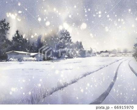 水彩画 雪景色 66915970