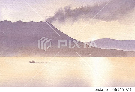 水彩画 桜島 66915974