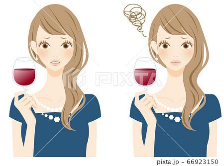 マナー違反 レストランでワインを飲む女性 困る 質問 66923150