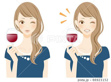 美味しい 乾杯する女性 ワイングラス 人物イラスト 66923152