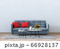 Living room interior in modern style, 3d render with sofa and decorations. 66928137
