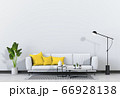 Living room interior in modern style, 3d render with sofa and decorations. 66928138