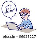 オンライン講習する男の子 66928227