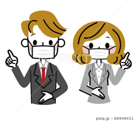 マスクをしたビジネスウーマンとビジネスマン 指差し 66948431