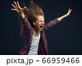 Little kid screams in studio, developing hairstyle 66959466