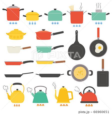 キッチン なべ やかん フライパン 料理 イラスト セット 66960651