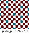 あずき色の市松柄を歪めたシームレスパターン、ポイント色にティールブルー【背景柄】 66975733